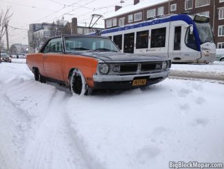 1973 Dodge Dart in the deep winter snow