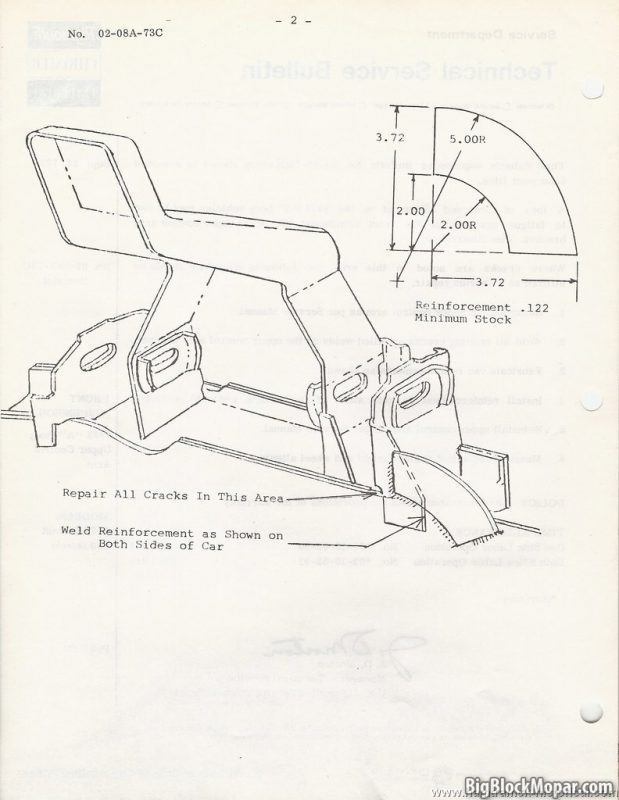 Mopar 1973 Mopar Technical Service Bulletin - Upper Control Arm fix