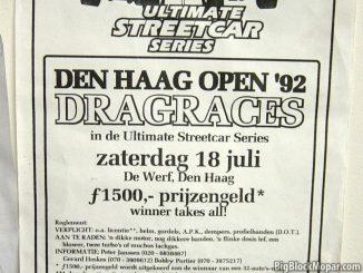 Flyer of Dragracing Zichtenburg 1992 De Werf Den Haag