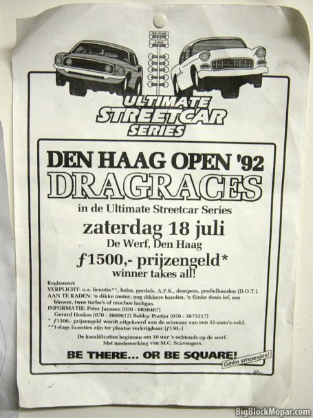 Flyer of Dragracing Zichtenburg 1992 De Werf Den Haag